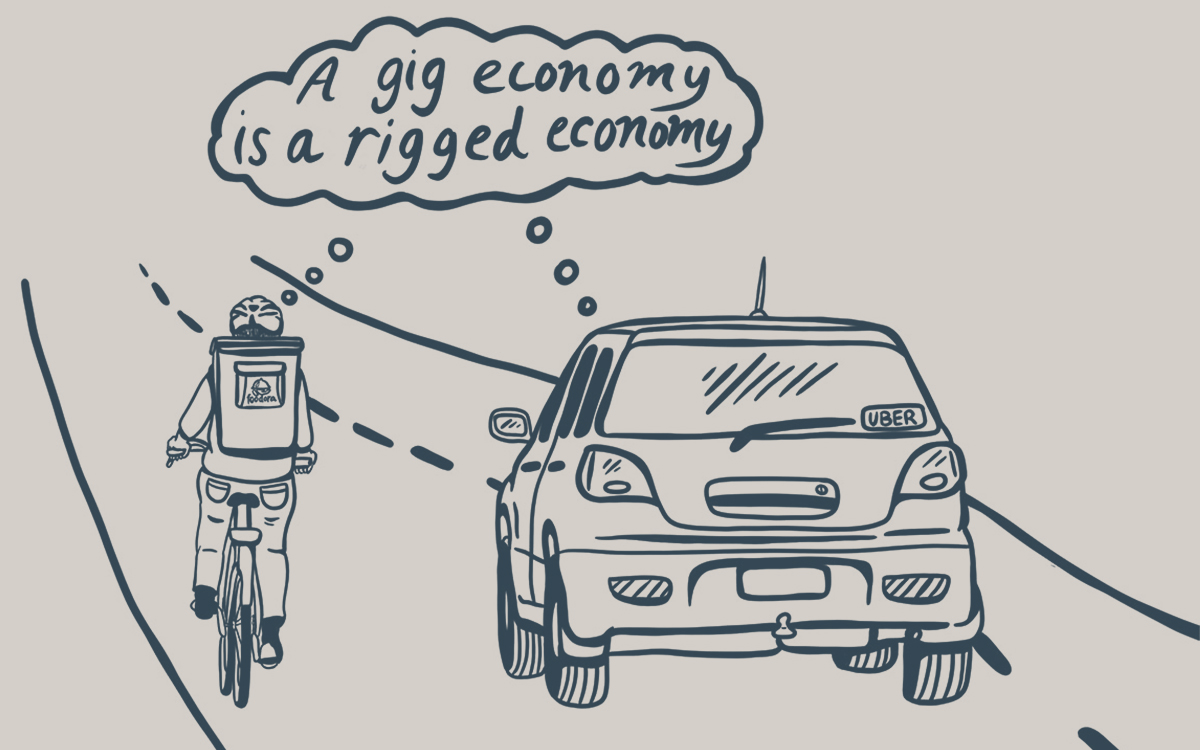 "a bike courier and car with a uber sticker share a thought bubble that says ""a gig economy is a rigged economy"""